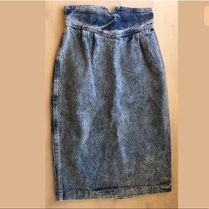 VTG Zena Acid wash denim skirt